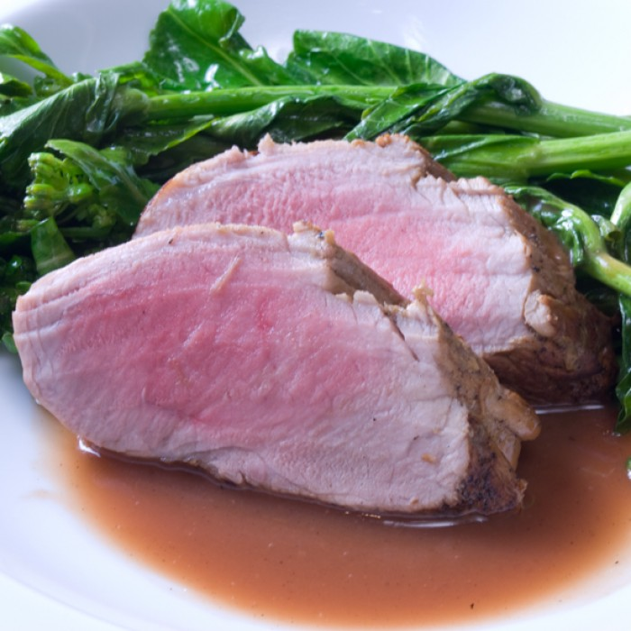 Fresh Rhubarb Roundup: Apple Cider-Brined Pork Tenderloin with Rhubarb Deglazing Sauce