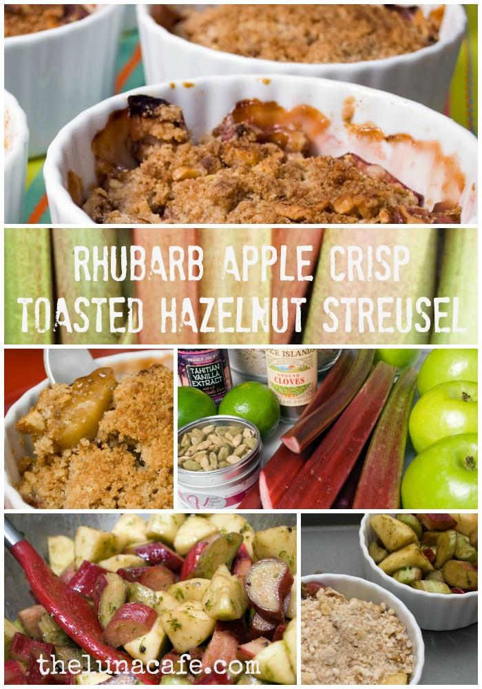 Rhubarb Apple Crisp with Toasted Hazelnut Streusel