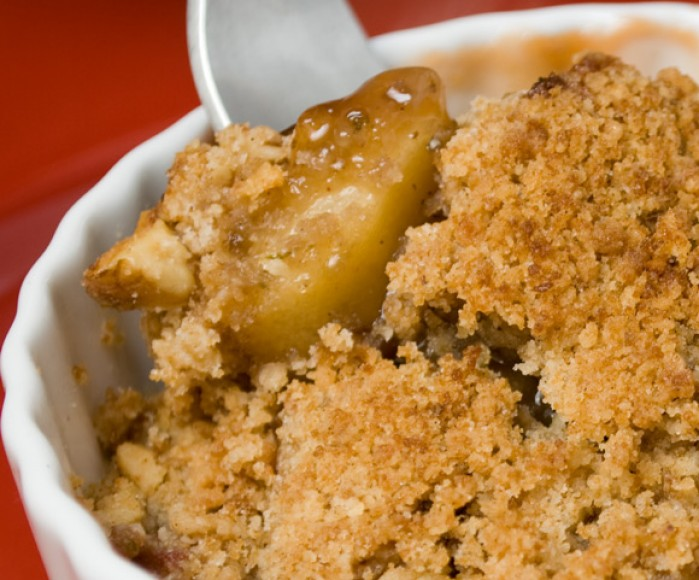 Fresh Rhubarb Roundup: Spring Rhubarb and Apple Crisp with Toasted Hazelnut Streusel
