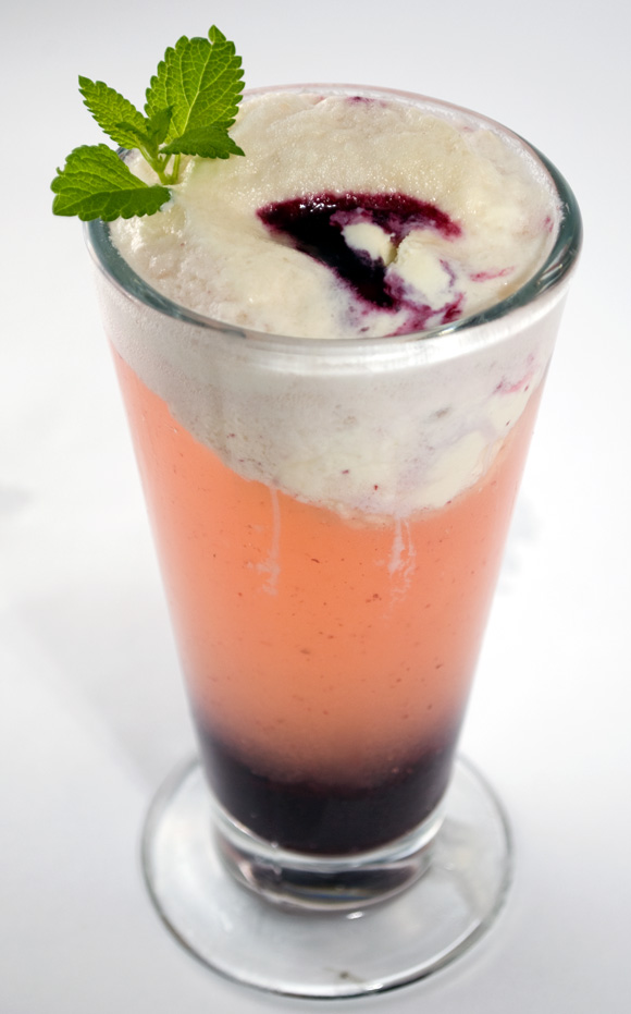 Blueberry Lemon Verbena Spritzer with Candied Ginger Ice Cream