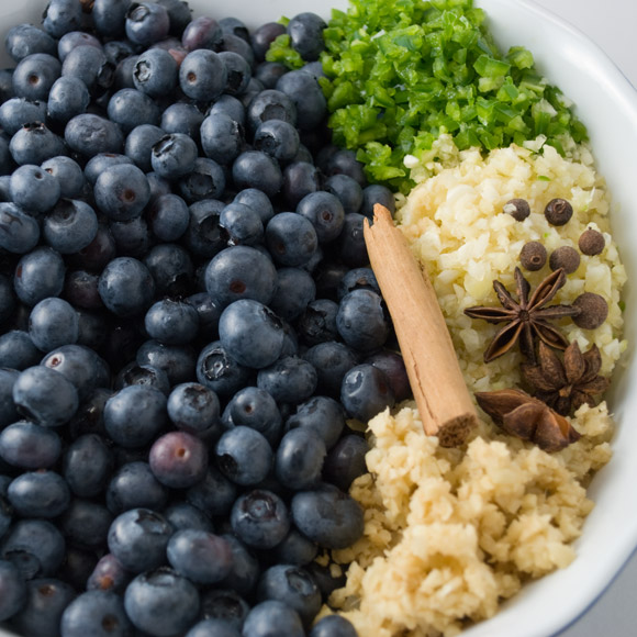 Spicy Blueberry Ginger Chutney Mise-en-Place