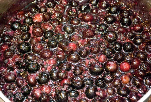 Spicy Blueberry Ginger Chutney Reducing on the Stove