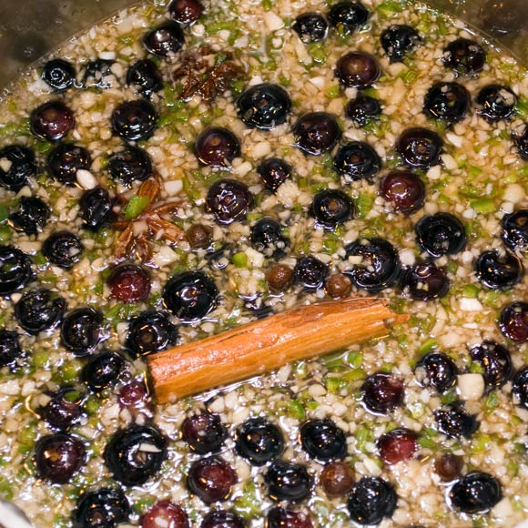 Spicy Blueberry Ginger Chutney on the Stove