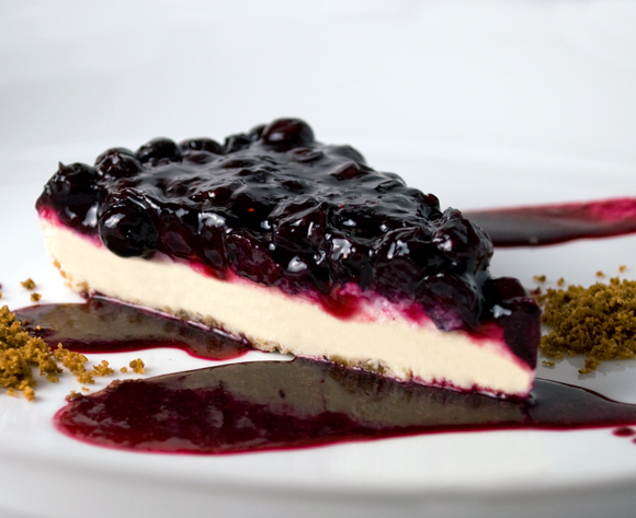 Blueberry, Lime & Rose Petal Cheesecake
