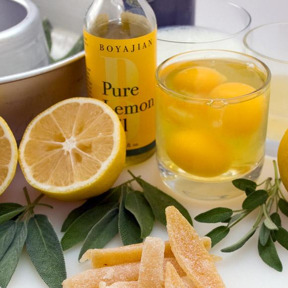 Luscious Candied Lemon & Sage Tea Cake Mise-en-Place