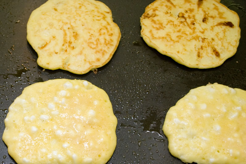 MauiJim's Cottage Cheese Pancakes on the Griddle