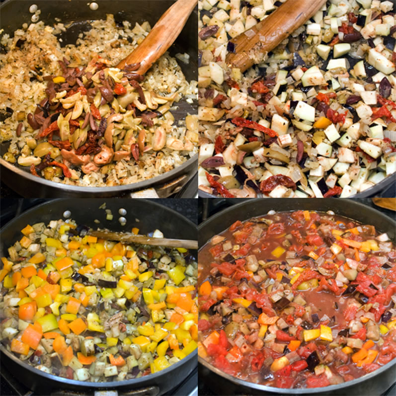 Four stages of onion olive dried tomato orange pepper yellow pepper eggplant sauce