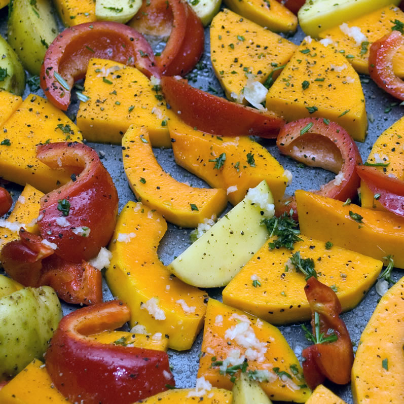 Freshly Sliced Butternut Squash, Yukon Gold Potatoes & Sweet Red Peppers
