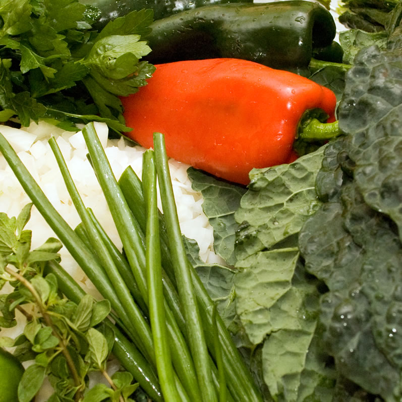 Poblano Peppers, Italian Red Pepper, Yellow Onions, Fresh Oregano, and Italian Kale