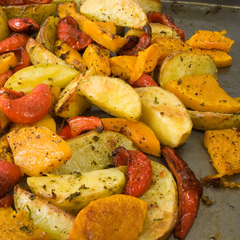 Roasted Fall Vegetables Hot from the Oven