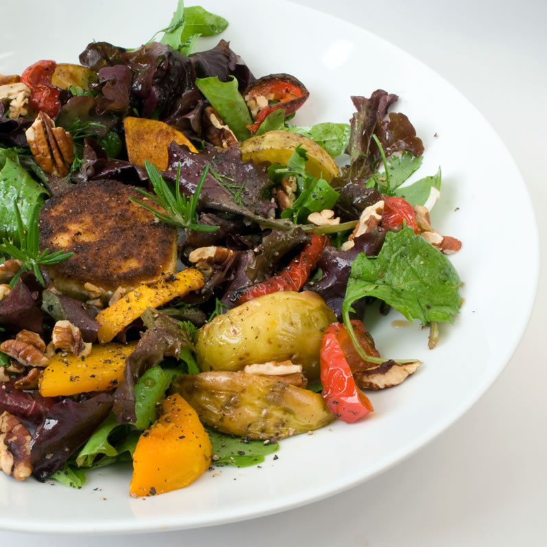 Roasted Fall Vegetable Salad with Warm Goat Cheese & Honey Mustard Vinaigrette