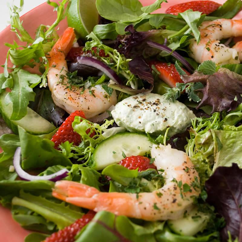 Prawn & Strawberry Salad with Fresh Herb Panna Cotta