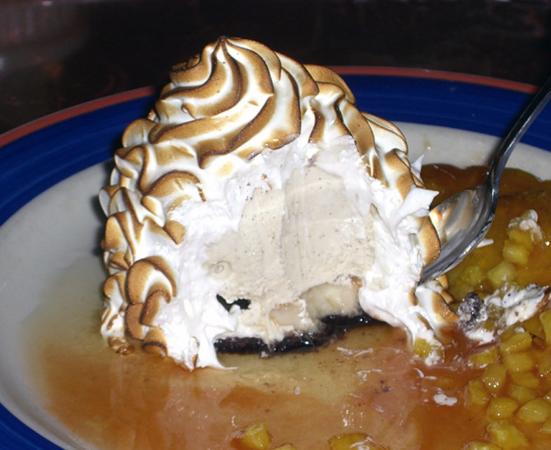 Oba!'s Baked Argentina: Chocolate Cake, Bananas, Caramel & Vanilla Bean Ice Cream, Topped with Baked Meringue