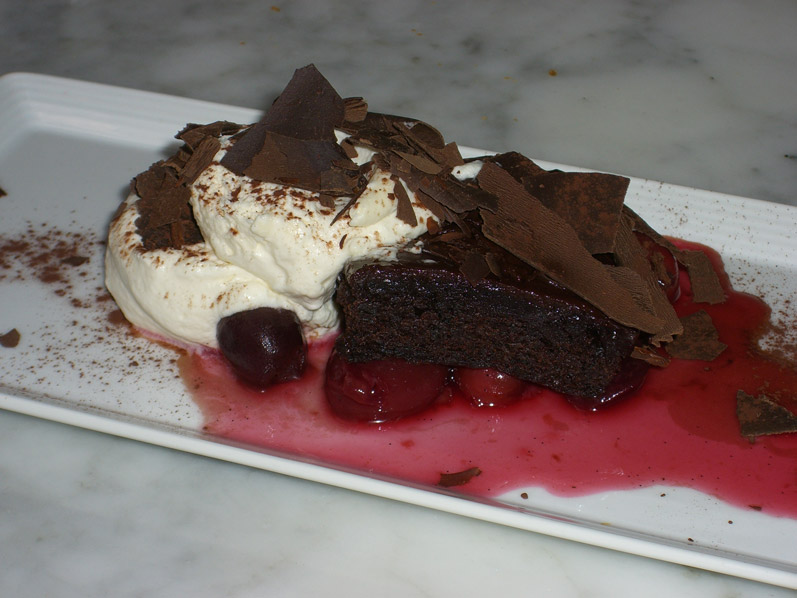 Heathman's Black Forest Cake with Bing and Rainer Cherries, Chocolate Cake, Chantilly Cream & Chocolate Shavings