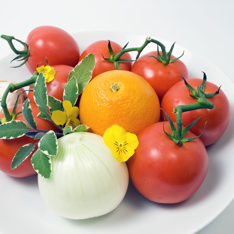 Bowl of Tomatoes, Sweet Onion & Orange