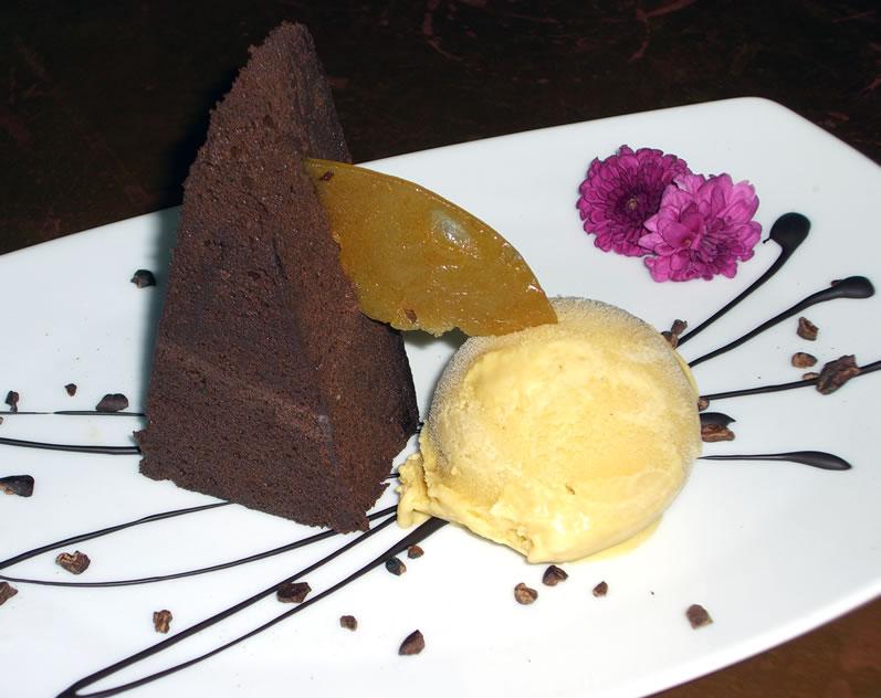 Chocolate Cinnamon Torta with Lucuma Ice Cream and Toasted Corn Praline