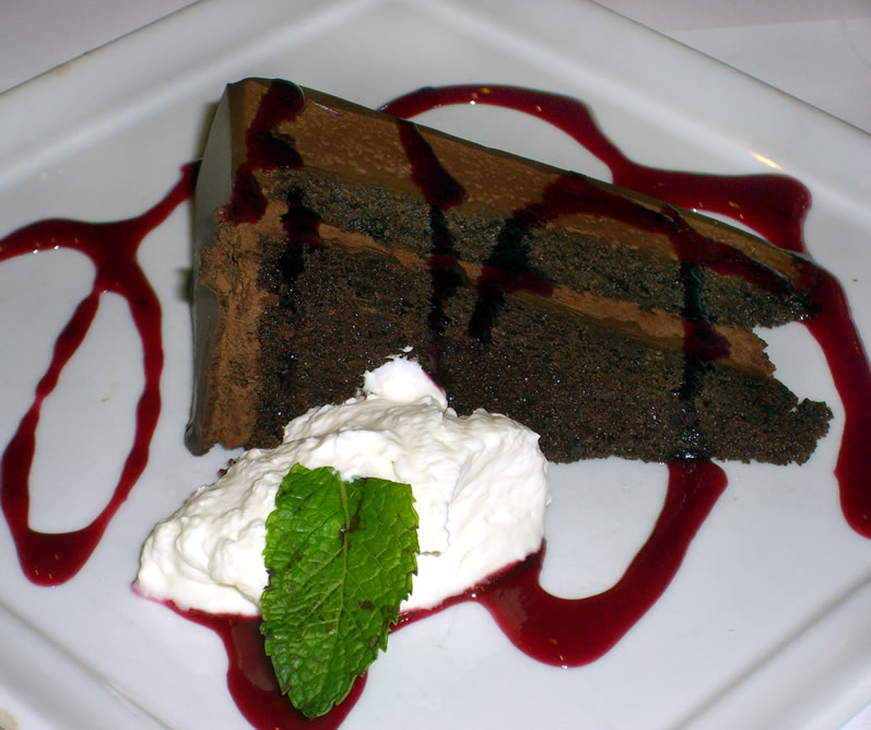 Serafina's Chocolate Grappa Cake with Black Currant Sauce