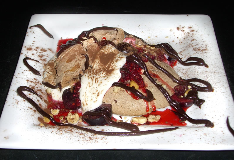 Holden's Chocolate Pavlova with Hazelnut Chantilly Cream, Bing Cherries & Raspberries