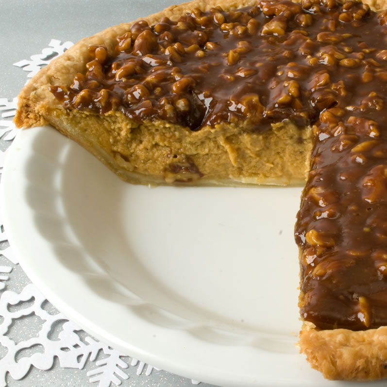 Pumpkin Sour Cream Piewith Caramel Walnut Topping, Sliced