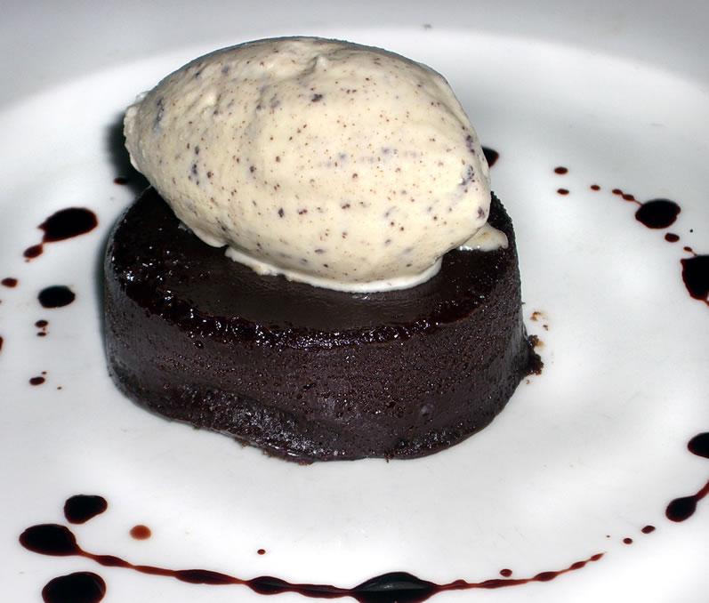 Pralus Chocolate Truffle Cake with Ninety Farms Stracchiatelle Gelato & Cherry Vinegar Reduction