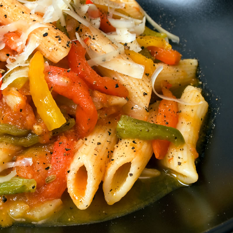 Mostaccioli with Sweet Rainbow Peppers
