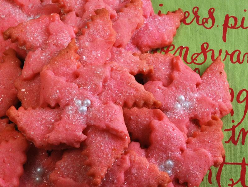 Butter Almond Poinsettia cookies