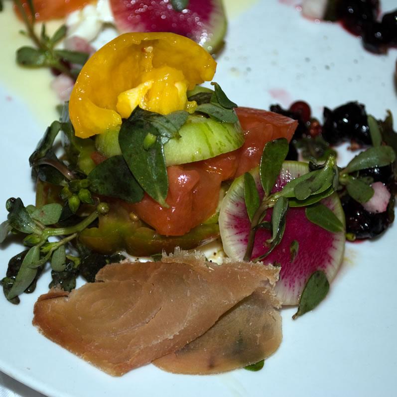 Boston, Clio, Closeup Heirloom Tomato Salad