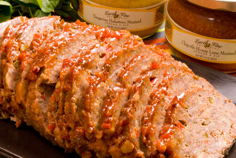LunaCafe's Smokey Chipotle Meatloaf Sliced with Earth and Vine Mustards