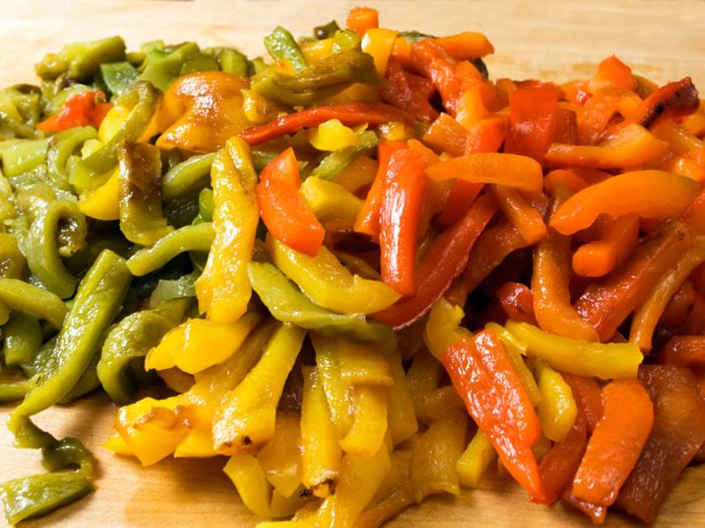Roasted, Sliced Rainbow Peppers