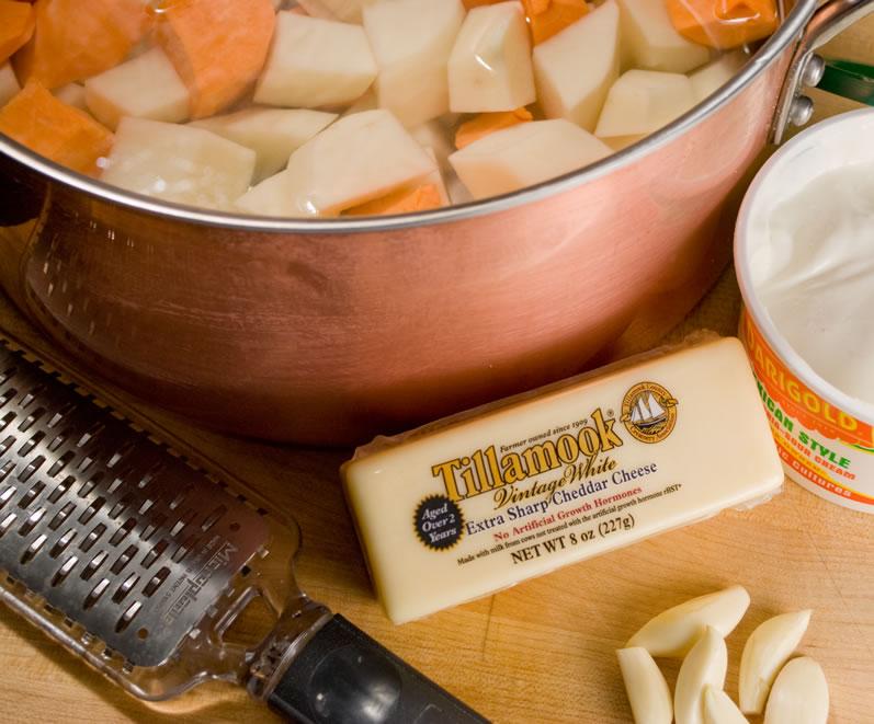 Potato, Yam, Garlic & Smoked Cheddar Gratin