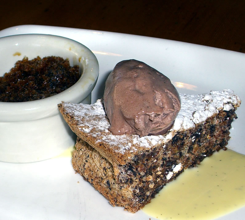 Wildwood's Valrhona 'Manjori' Chocolate Hazelnut Torte with Stumptown Espresso Granita & Cocoa Whipped Cream