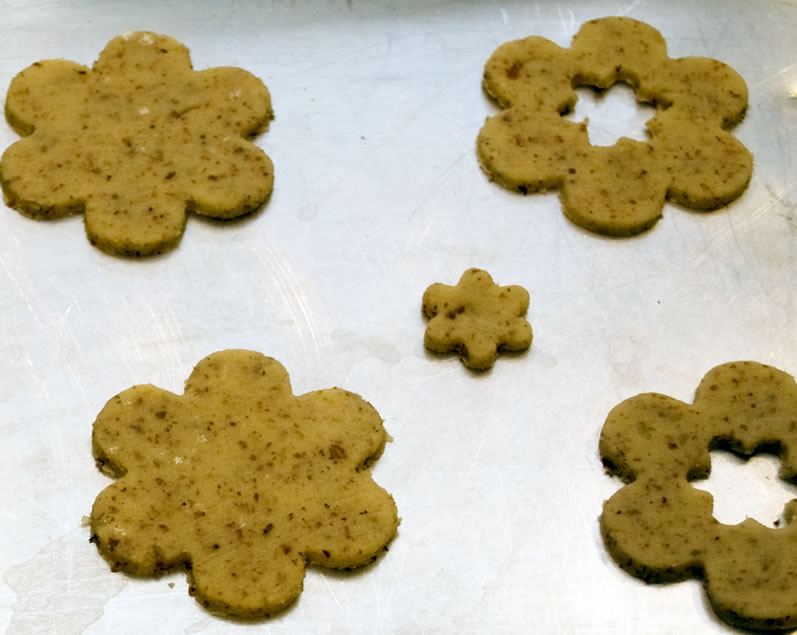 Cut Out Sweet Parmesan Almond Cookies on  Baking Sheet