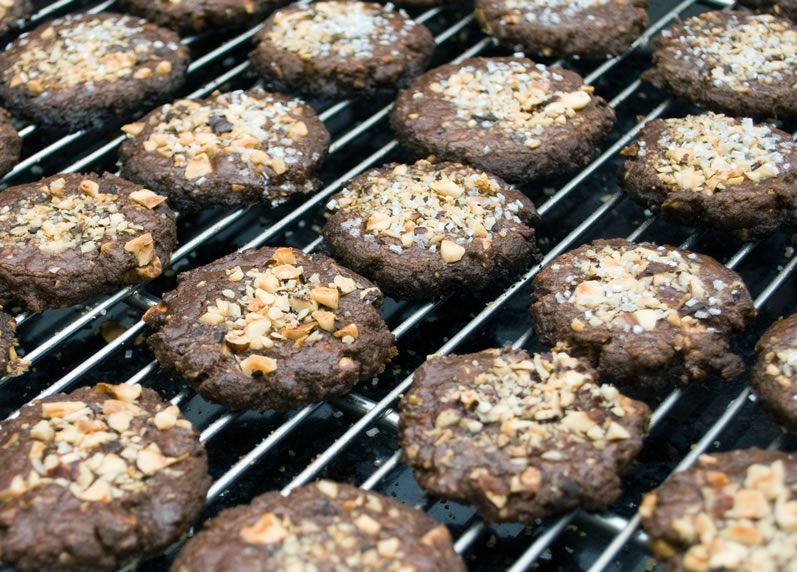 Mocha Java Hazelnut Cookies on Cooling Rack