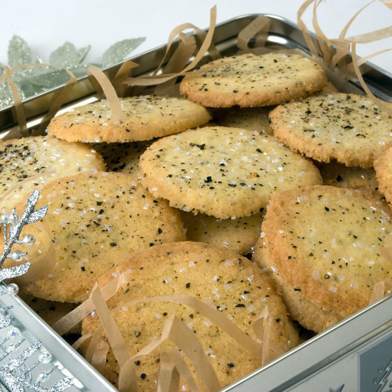 Cornmeal, Black Pepper & Rosemary Cookies in Cookie Tin