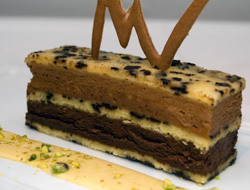 Heirloom Chocolate Speckle Cake with Pistachio Sauce