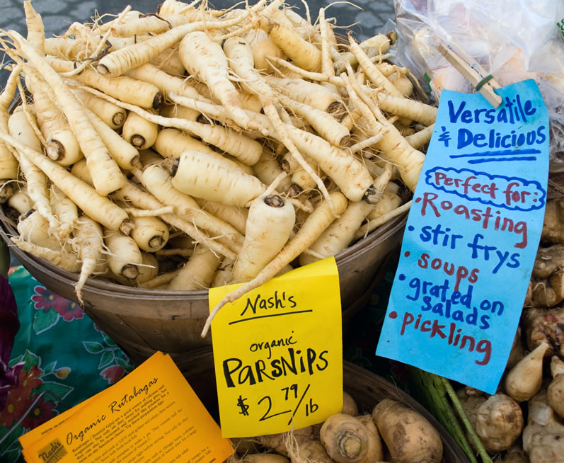 Parsnips at University District Farmers Market in April