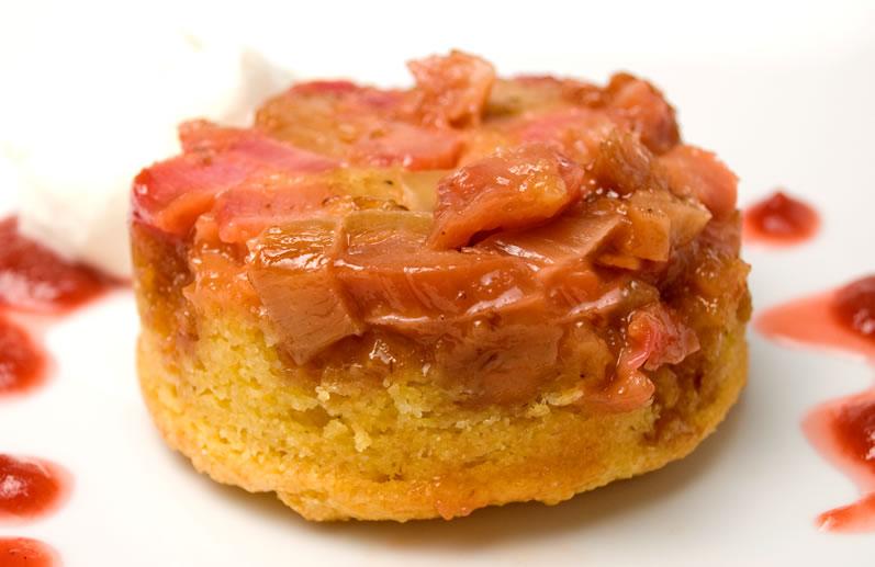 Rhubarb Cornmeal Upside Down Cake
