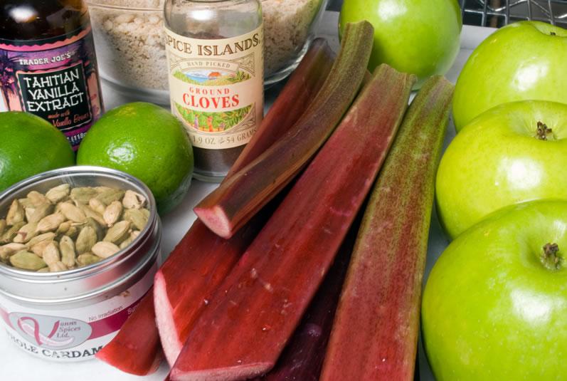 Rhubarb Apple Crisp Mise-en-Place