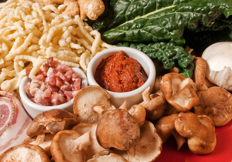 Ingredients for Spaetzle, Wild Mushroom & Broccoli Rabb with Thai ...