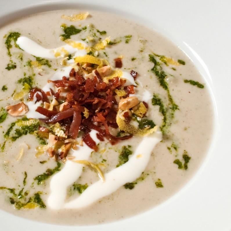 Roasted Garlic & Sunchoke Soup with Rosemary Hazelnut Pesto & Goat Cheese