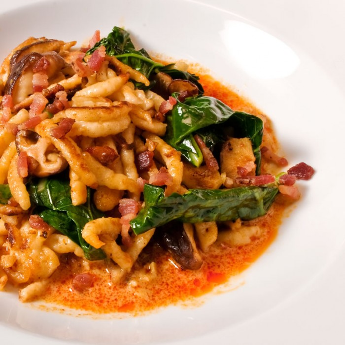 Spaetzle, Wild Mushrooms & Broccoli Rabb with Thai Yellow Curry Sauce