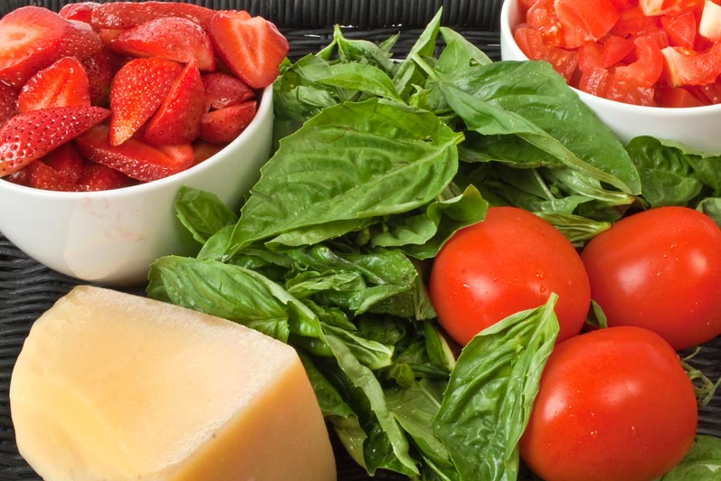 Fantasy Chopped Dessert Challenge: Strawberries, Tomatoes, Parmesan & Basil