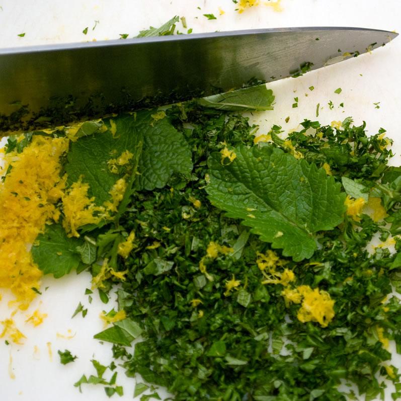 Lemon Verbena, Spearmint & Garlic Gremolata
