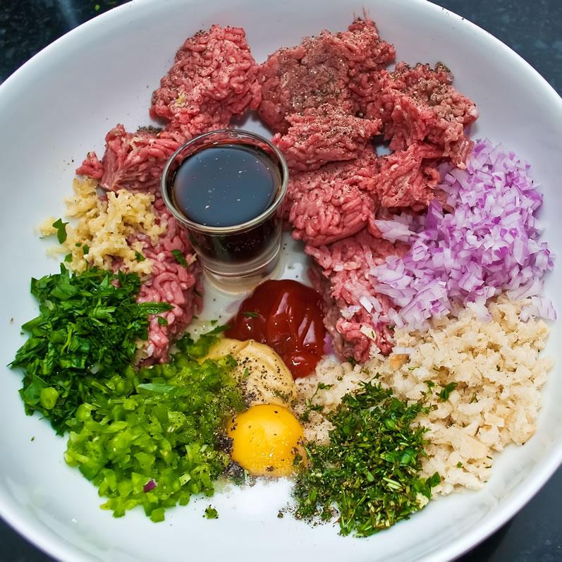 Hamburger Ingredients, Ready to Combine
