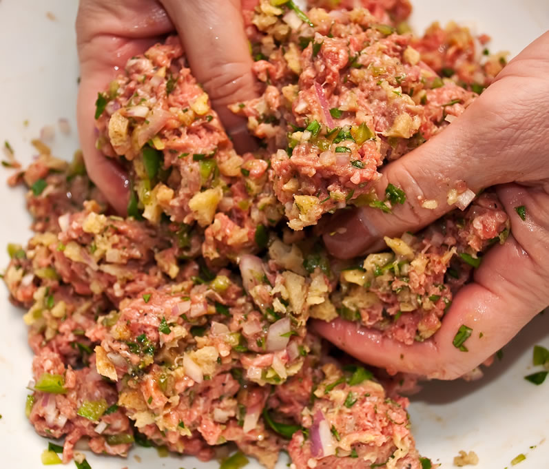 Mixing the Burger Ingredients