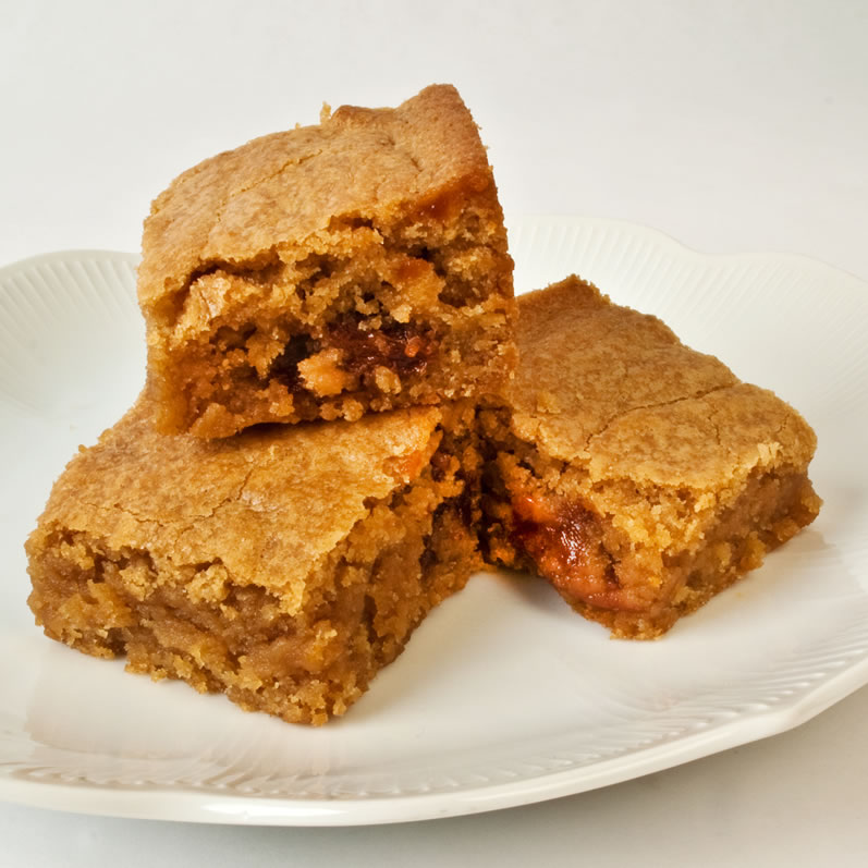 Three Chewy Gooey Blondies on a Plate