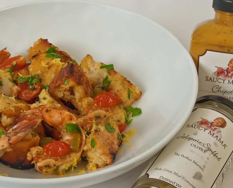 Grilled Prawn Roasted Baby Tomato & Chipotle Mustard Bread Salad   LunaCafe