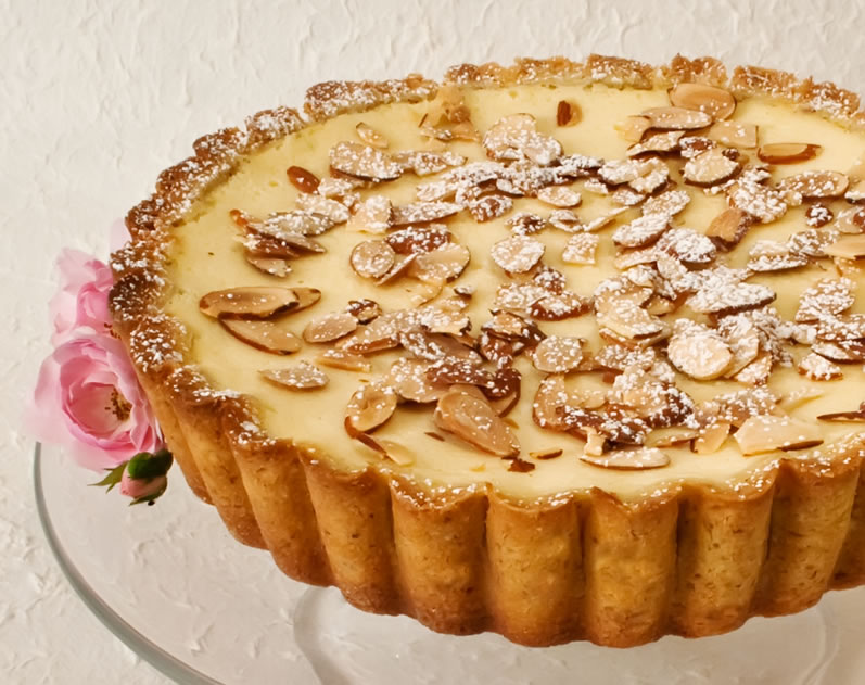 Lemon & Rose Petal Ricotta Tart (Torta della Nonna): Batter Method with Bottom Crust Only