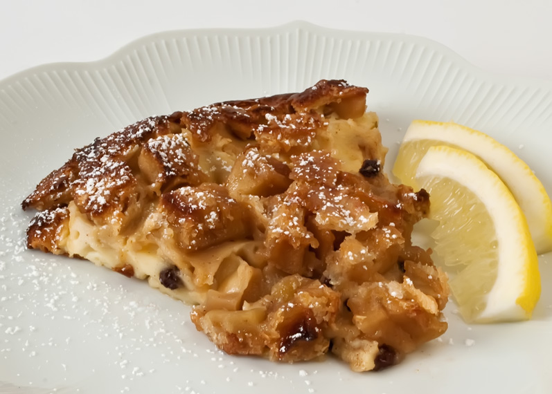 Spiced Green Apple Lemon Clafouti, Serving on Plate