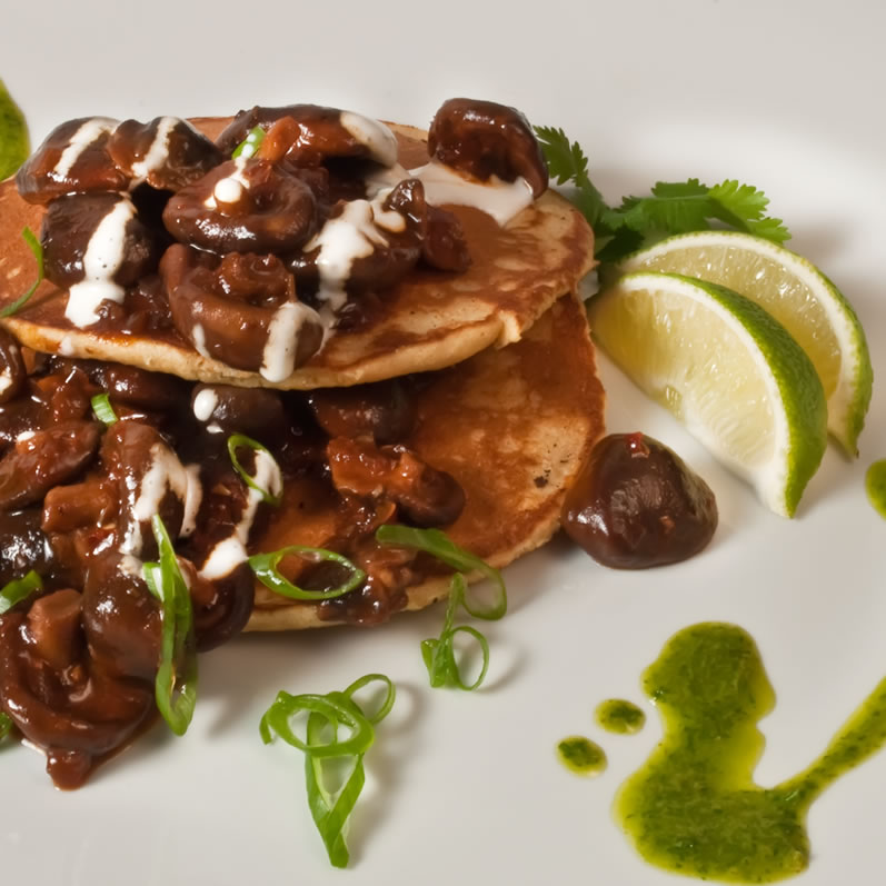 Shiitake Mushrooms with Ancho Chile Sauce